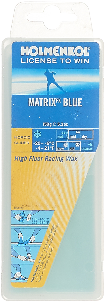 Парафин Holmenkol HF Matrix Blue, высокофторовый, -8…-20C, 150 г парафин holmenkol alphamix weltcup skiwax 1x150g желтый 150g