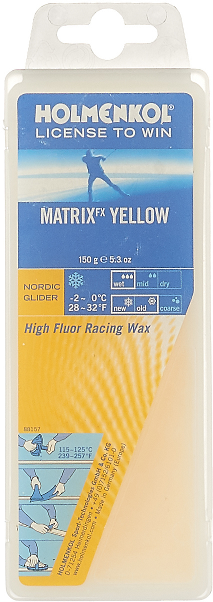 Парафин Holmenkol HF Matrix Yellow, высокофторовый, -0…-2C, 150 г пластик holmenkol holmenkol repair strips черный 5