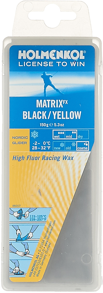 Парафин Holmenkol HF Matrix BK/Yellow, высокофторовый, -0…-2C, 150 г парафин holmenkol alphamix weltcup skiwax 1x150g желтый 150g