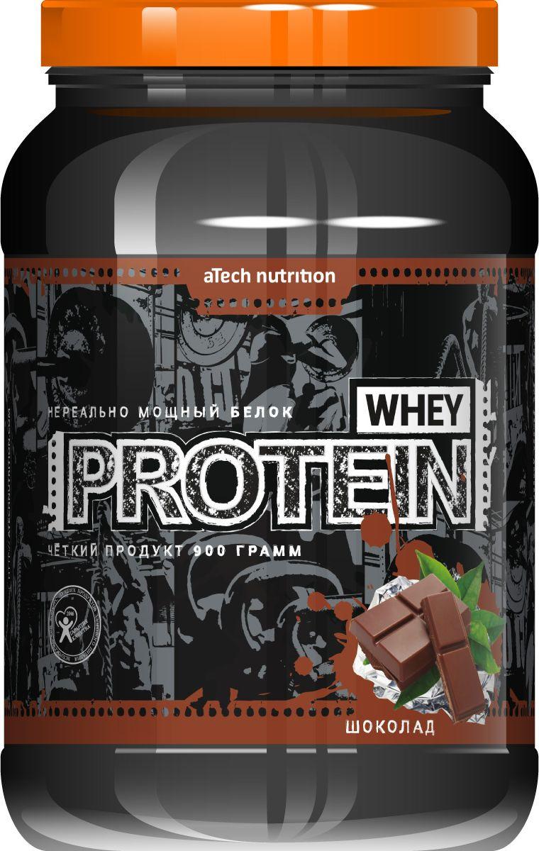 Протеин cывороточный aTech Nutrition Whey Protein 100%, жесткий шоколад, 900 г