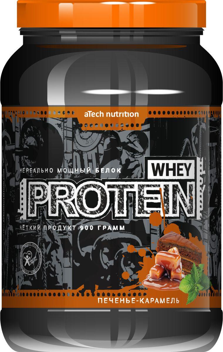 Протеин cывороточный aTech Nutrition Whey Protein 100%, печенье и карамель, 900 г