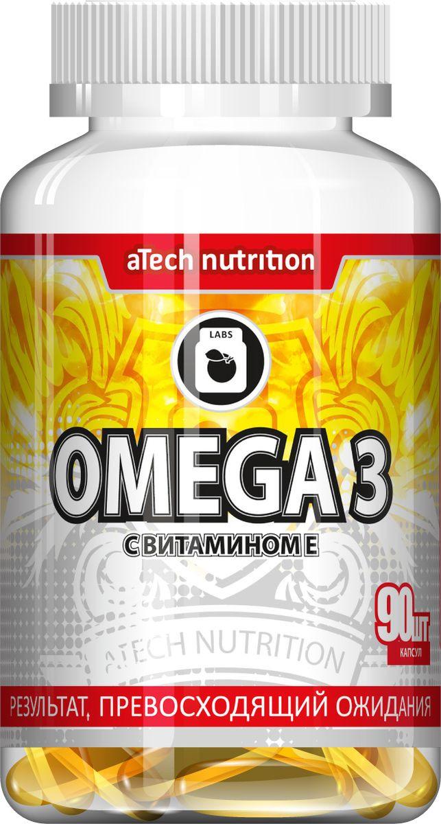 Пищевая добавка aTech Nutrition Omega 3, усилен витамином Е, 90 капсул рыбий жир янтарная капля с витамином е 100 капсул х 0 3 мг