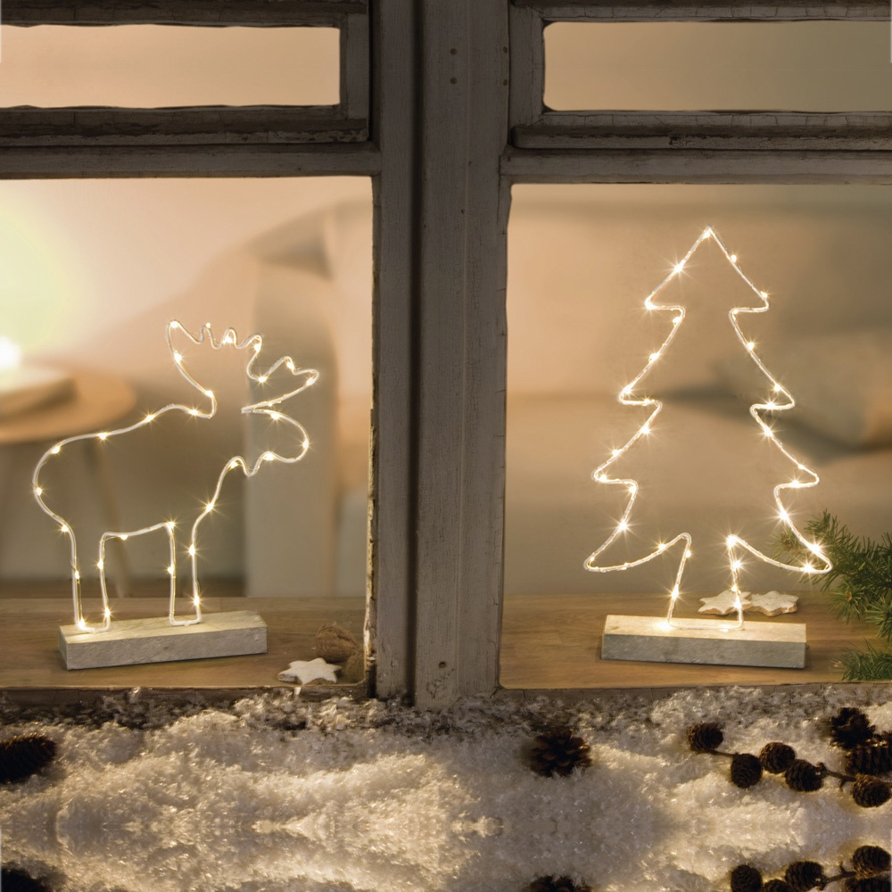 Декоративные украшения Хит-декор Елочка и олень со светодиодной подсветкой, 2 шт комплект настенных часов хит декор для ванной комнаты 2 шт