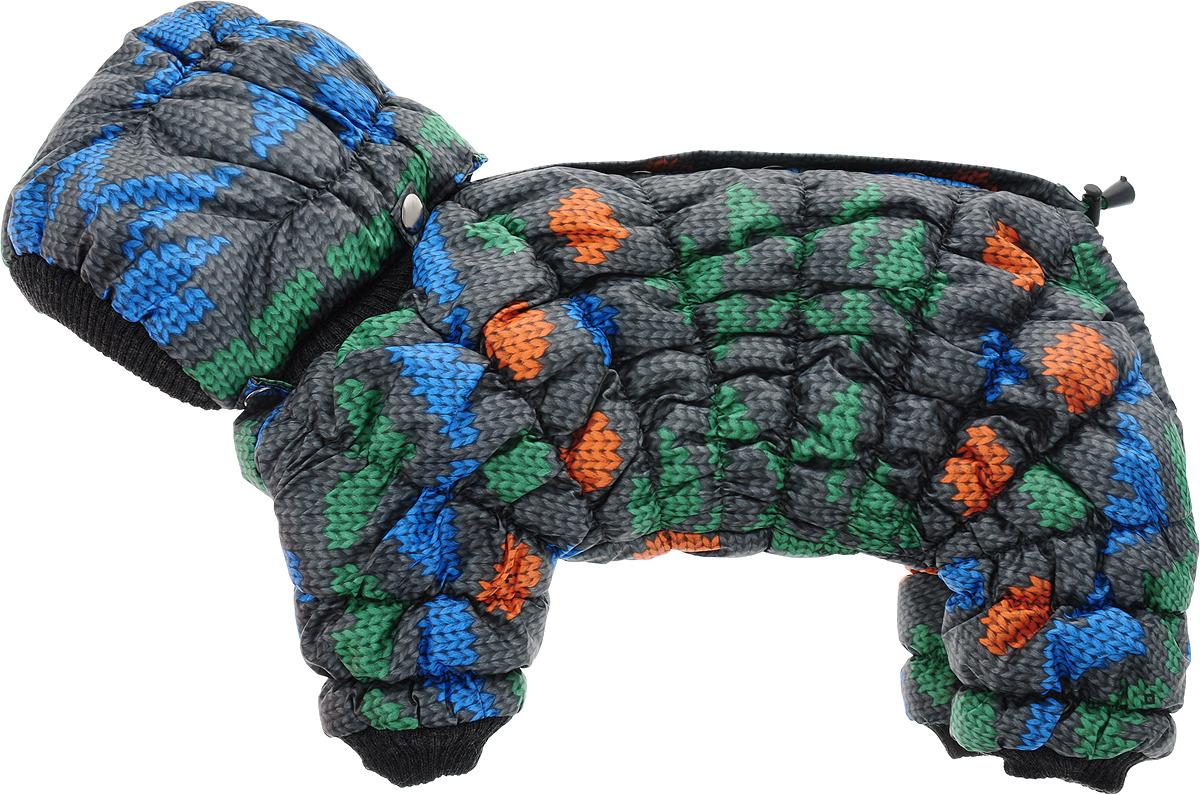 """Одежда для собак Kuzer-Moda """"Дутик"""", комбинезон зимний, унисекс, KZ002492, серый, зеленый, голубой, размер S"""
