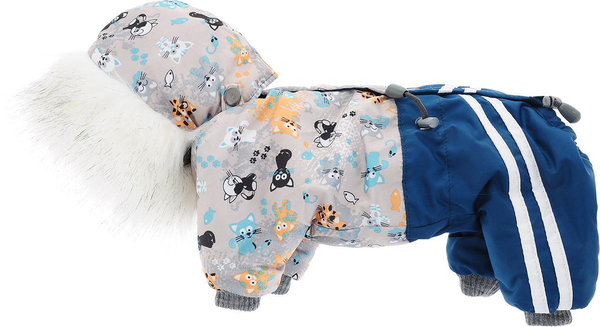 """Одежда для собак Kuzer-Moda """"Куртка-брюки"""", комбинезон утепленный, унисекс, KZ000002, морская волна, бежевый, котята"""