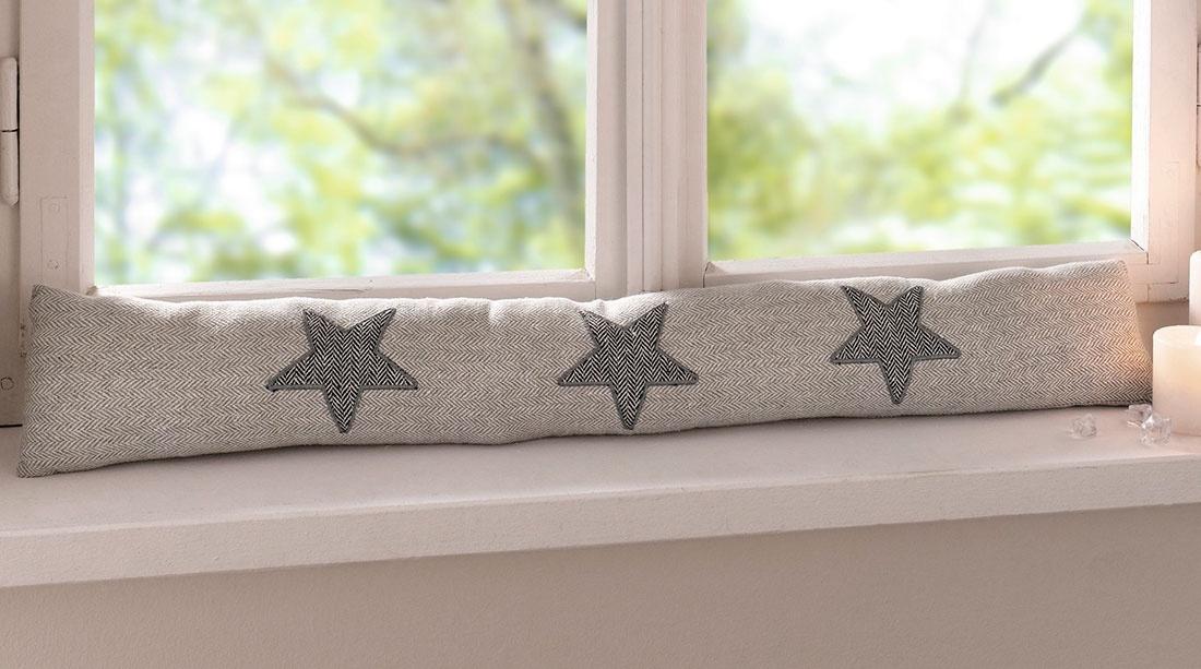 Заслон от сквозняка Хит - декор Звезды, цвет: светло-бежевый, 80 х 13 см подставка для бумажного полотенца walmer provence цвет светло бежевый 13 5 х 13 5 х 32 см