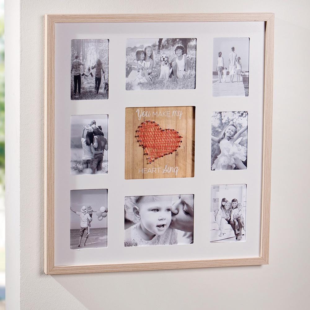 Рамка для фотографий Хит-декор Сердечко на 8 фото, цвет: бежевый, 55 х 60 см фотоальбом platinum ландшафт 1 200 фотографий 10 х 15 см цвет зеленый голубой коричневый pp 46200s