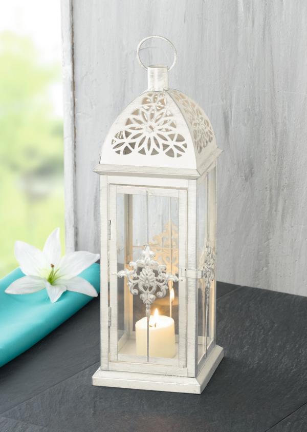 Подсвечник-фонарь Хит-декор Барокко, цвет: белый. 03502 подсвечник фонарь 24 5х38 см