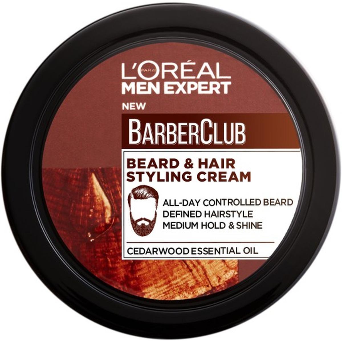 Крем-стайлинг для бороды и волос L'Oreal Paris Men Expert Barber Club, с маслом кедрового дерева, 75 мл недорого