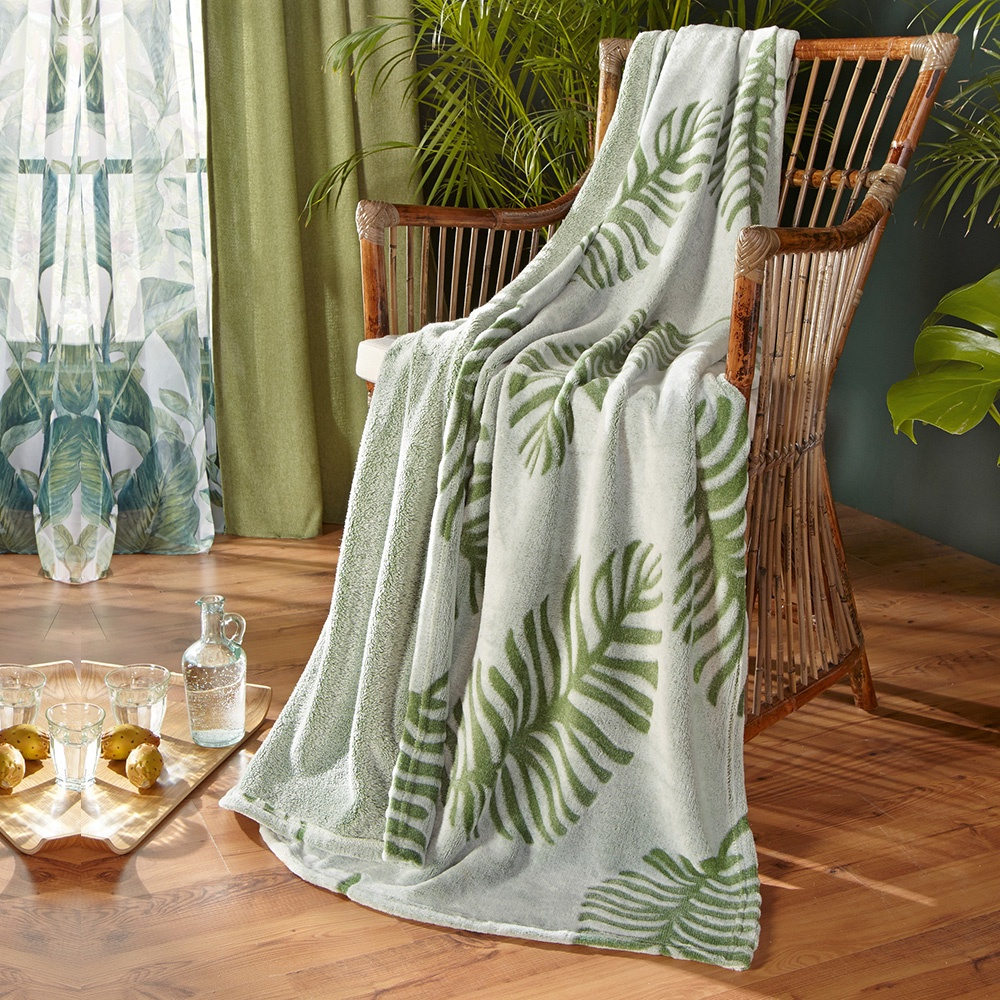 Плед Хит-декор Leaves, цвет: зеленый, 130 х 160 см. 06096 настольный декор ананас зеленый 12 х 12 х 22 см