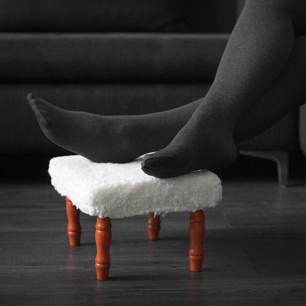 Табурет-подставка для ног Хит-декор, цвет: белый, коричневый. 06260