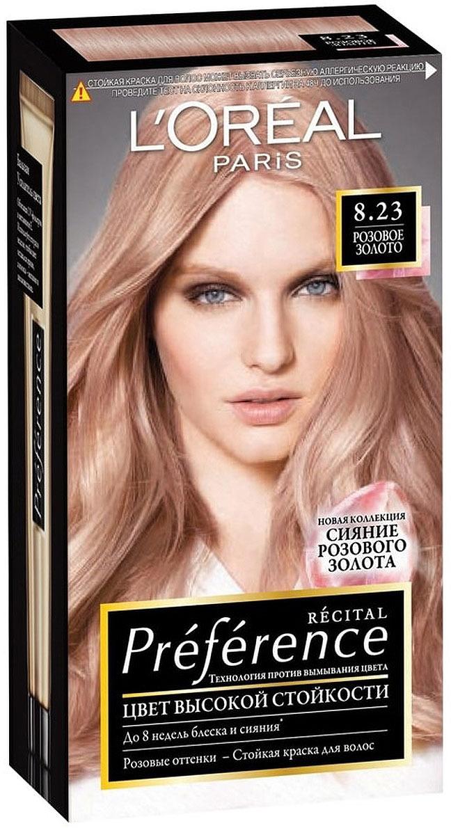 Стойкая краска для волос L'Oreal Paris Preference, оттенок 8.23, Розовое Золото