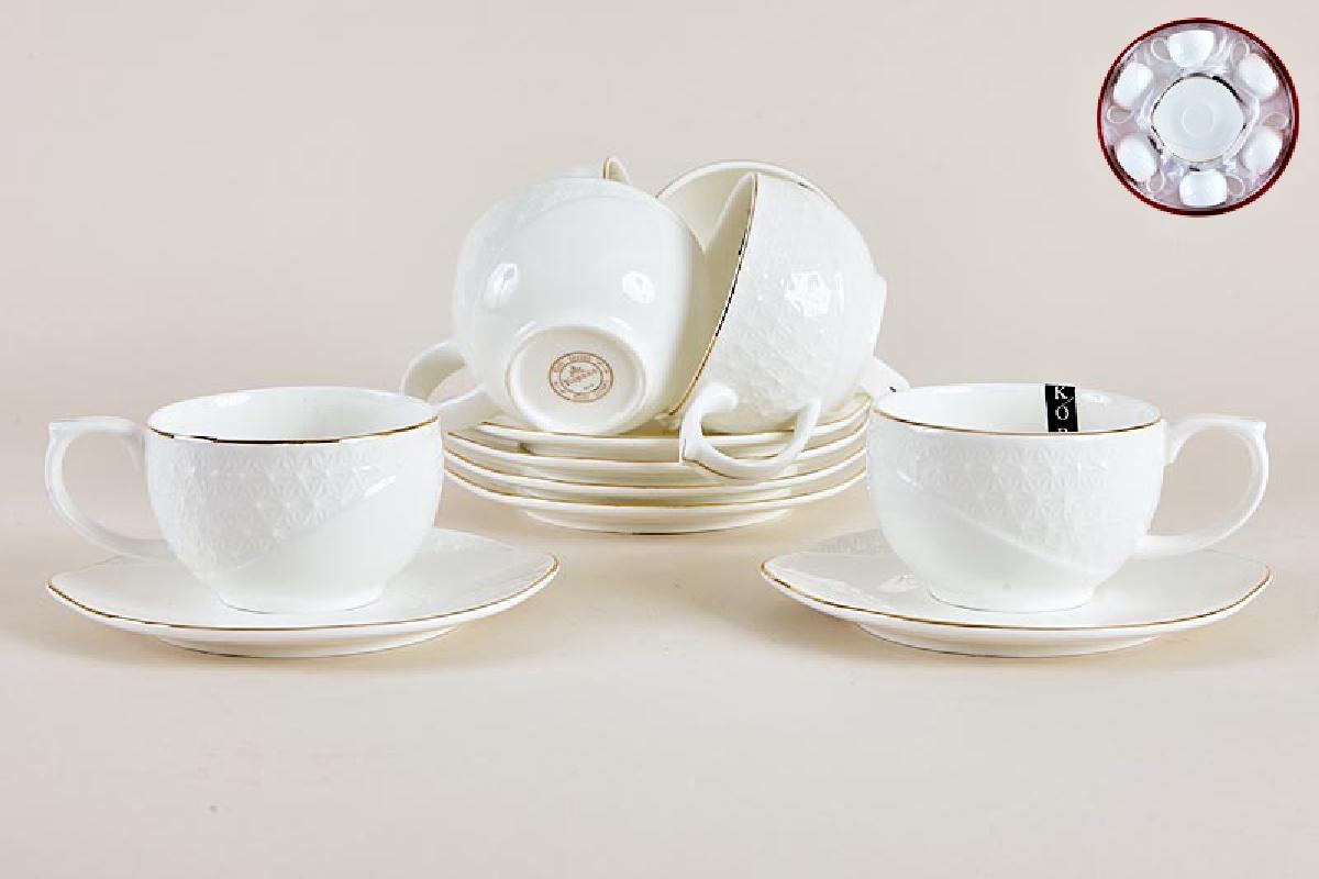 Набор чайный Коралл, 240 мл, 12 предметов, цвет: белый. 749250 набор посуды hoffberg 17 предметов цвет белый 1729hff