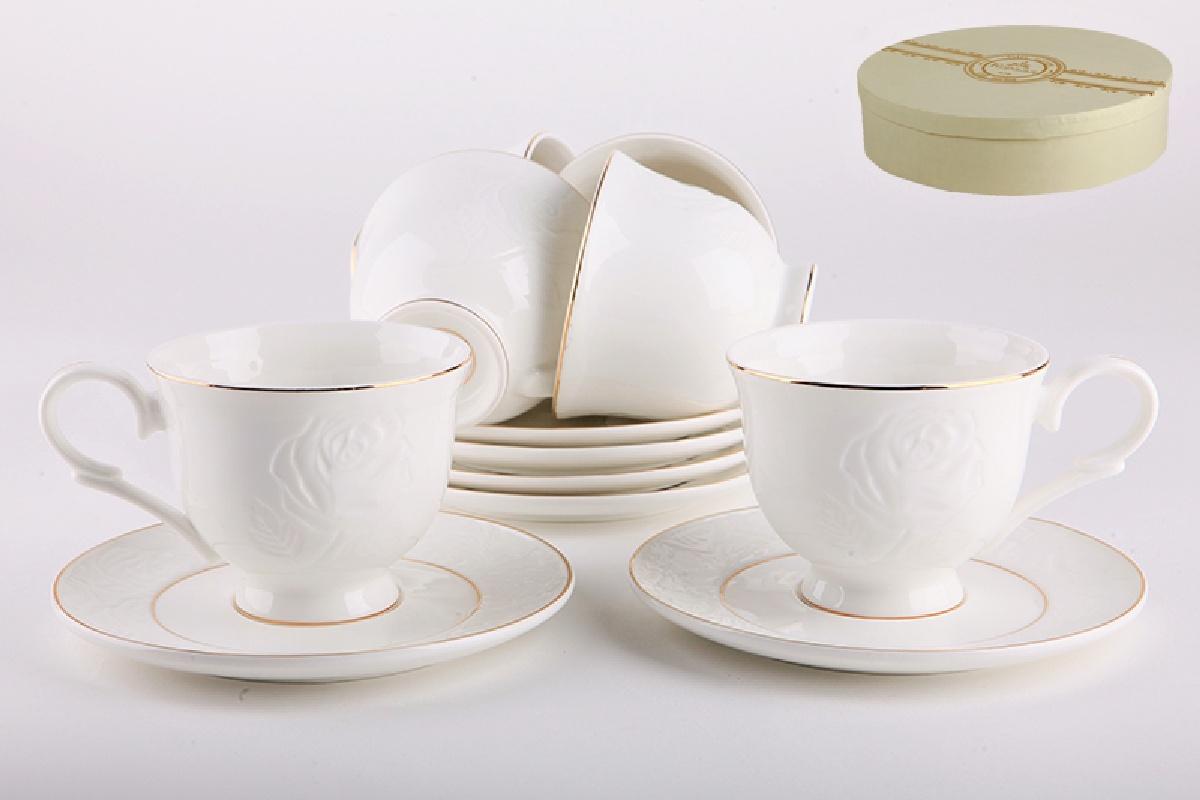 Набор чайный Коралл, 250 мл, 12 предметов, цвет: белый. 881918