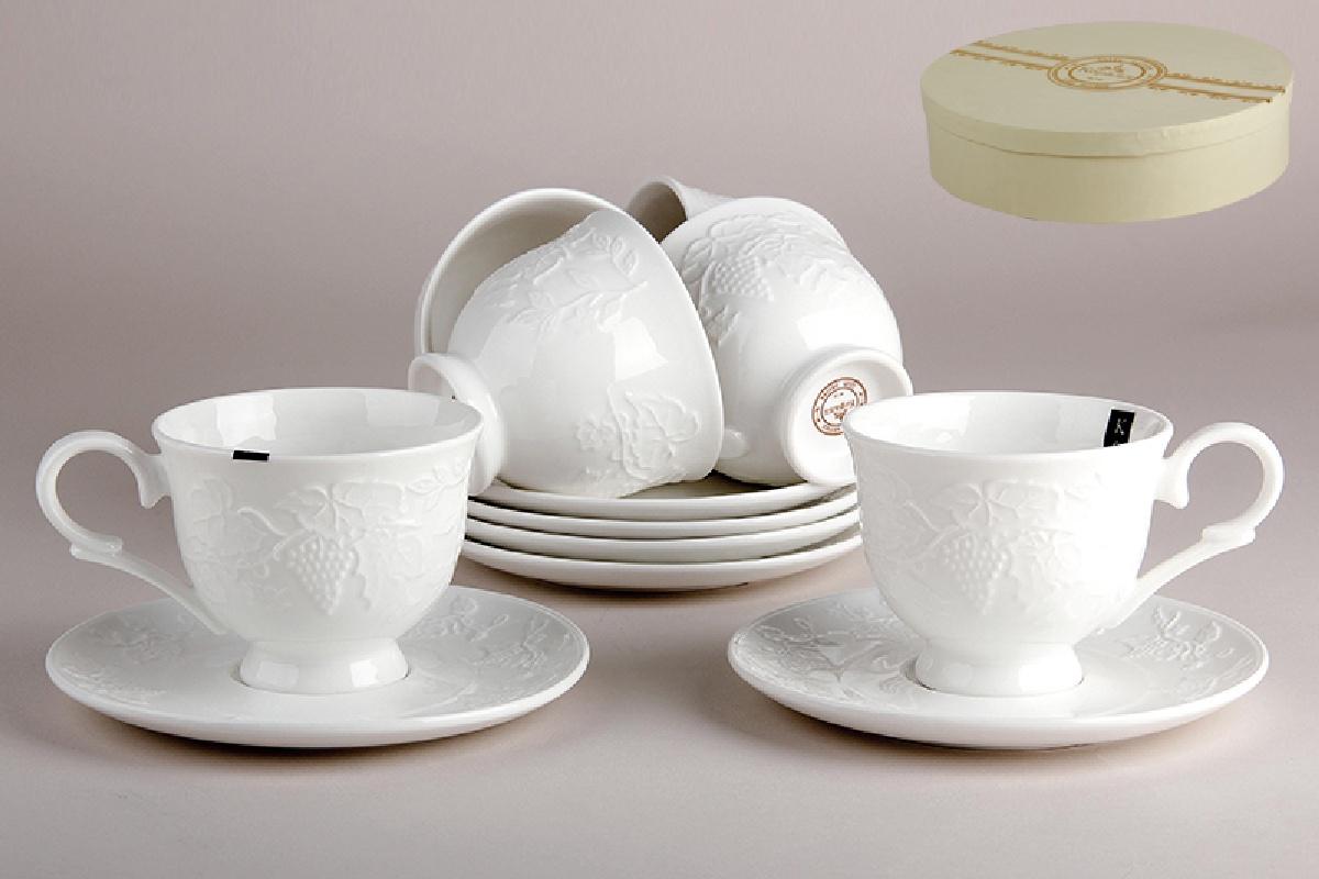 Набор чайный Коралл, цвет: белый, на 6 персон, 250 мл, 12 предметов. 917181