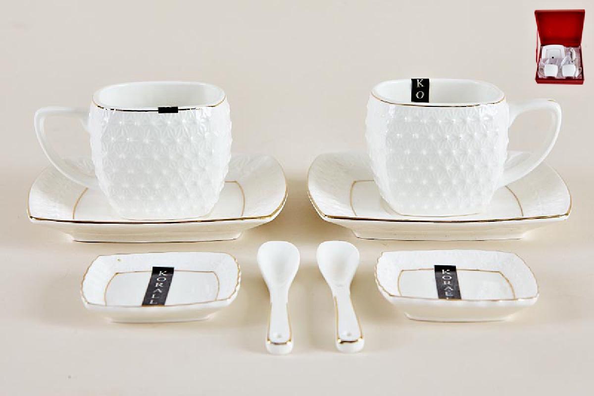 Набор чайный Коралл, цвет: белый, золотистый, на 2 персоны, 200 мл, 8 предметов. 749210 набор посуды hoffberg 17 предметов цвет белый 1729hff