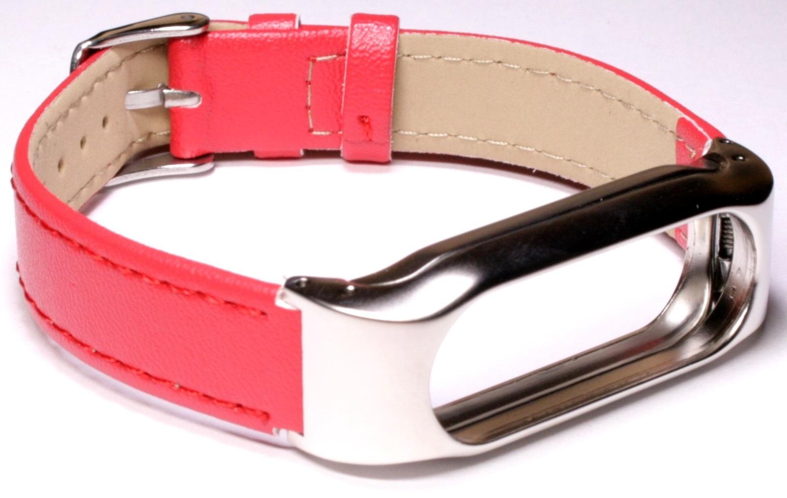 Ремешок для смарт-часов Xiaomi Mi Band 2 кожаный красный, BMiB2L Red фитнес трекер honor band 4 running red