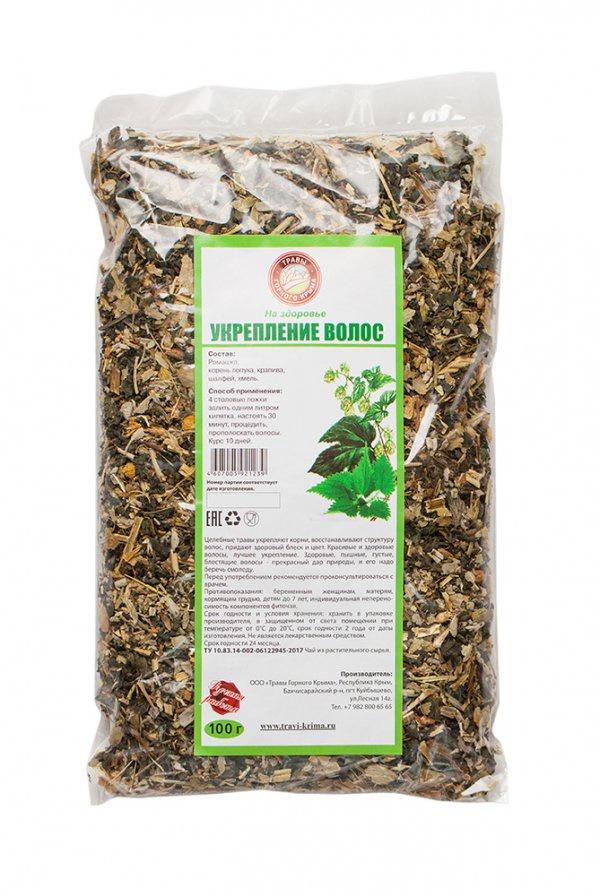 Чай листовой Травы горного Крыма Травяной чай для укрепления волос, 100 чай травяной травы горного крыма мята 50 г