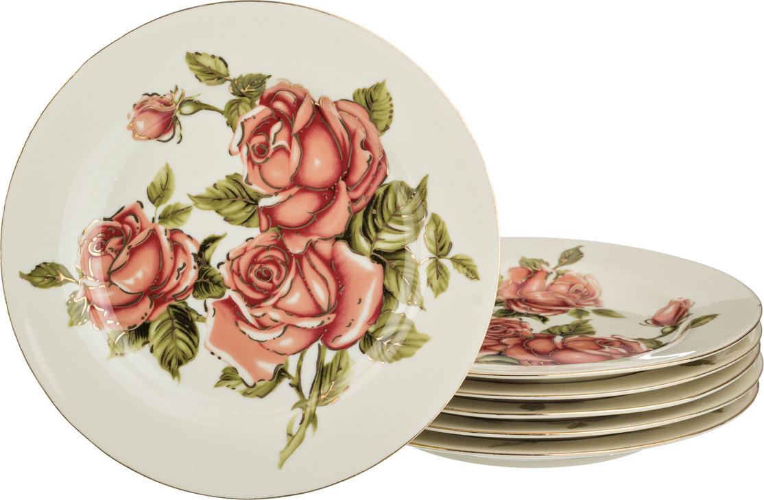 Набор тарелок Lefard Корейская роза, диаметр 19 см, 6 шт. 126502 цена
