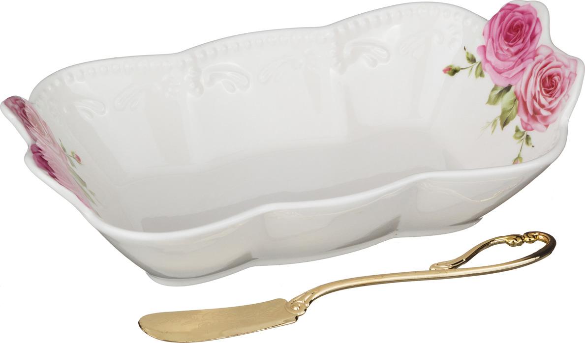 Масленка Lefard, с ножом, 18 х 10 х 5 см. N62160-7 мыльница дорожная домашний сундук цвет белый 10 5 х 4 х 7 5 см