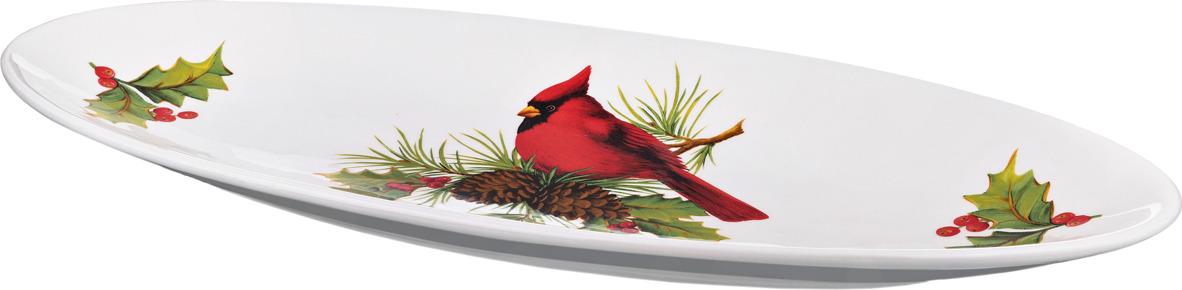 Блюдо для сервировки стола Lefard For Sweet Home. Птичка кардинал, 55 х 24 х 4,5 см. 229281 плантатор для цветов lefard птичка цвет разноцветный 20 5 х 15 х 31 см