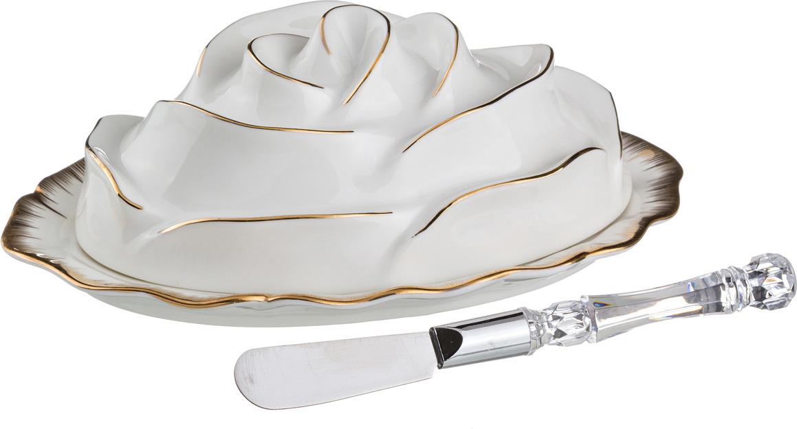 Масленка Lefard Цветочная симфония, с ножом, 19 х 13 см. 590009 пакет подарочный цветочная симфония 31 х 22 х 9 см букет роз