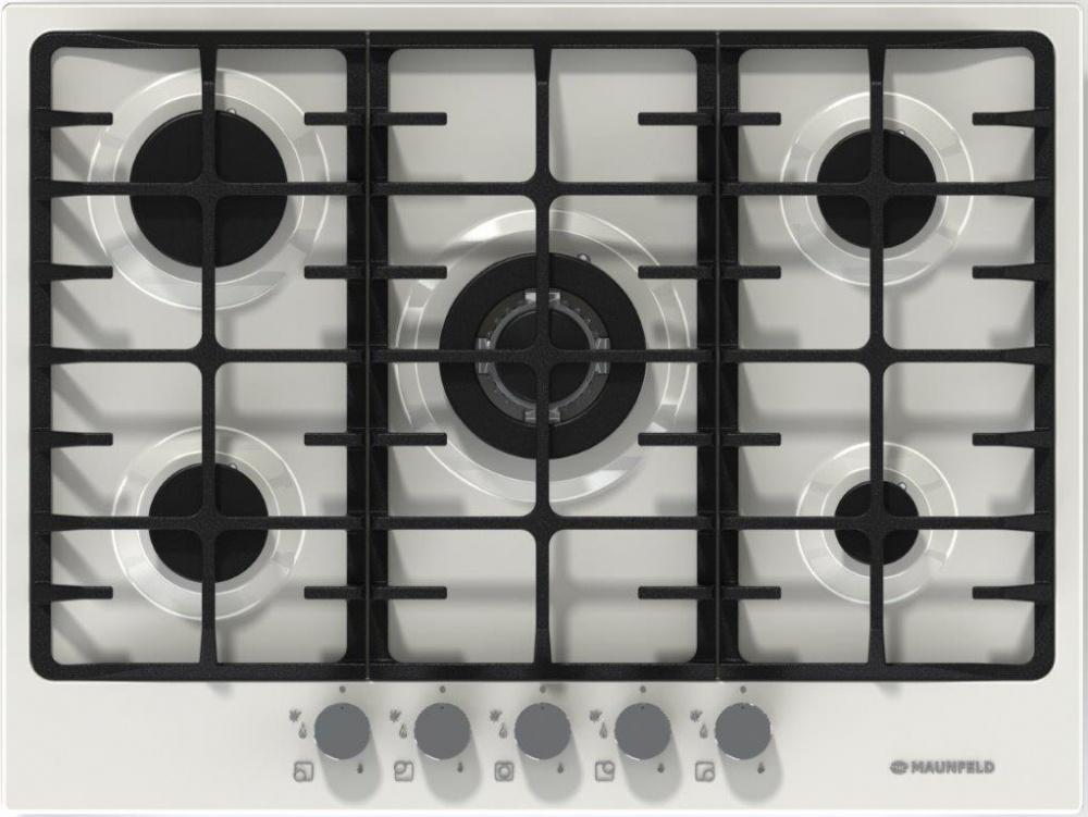 Варочная панель Maunfeld MGHE. 75. 78W, газовая, цвет белый 5газовых итальянских конфорок SABAF: одна тройная WOK конфорка 3800W...