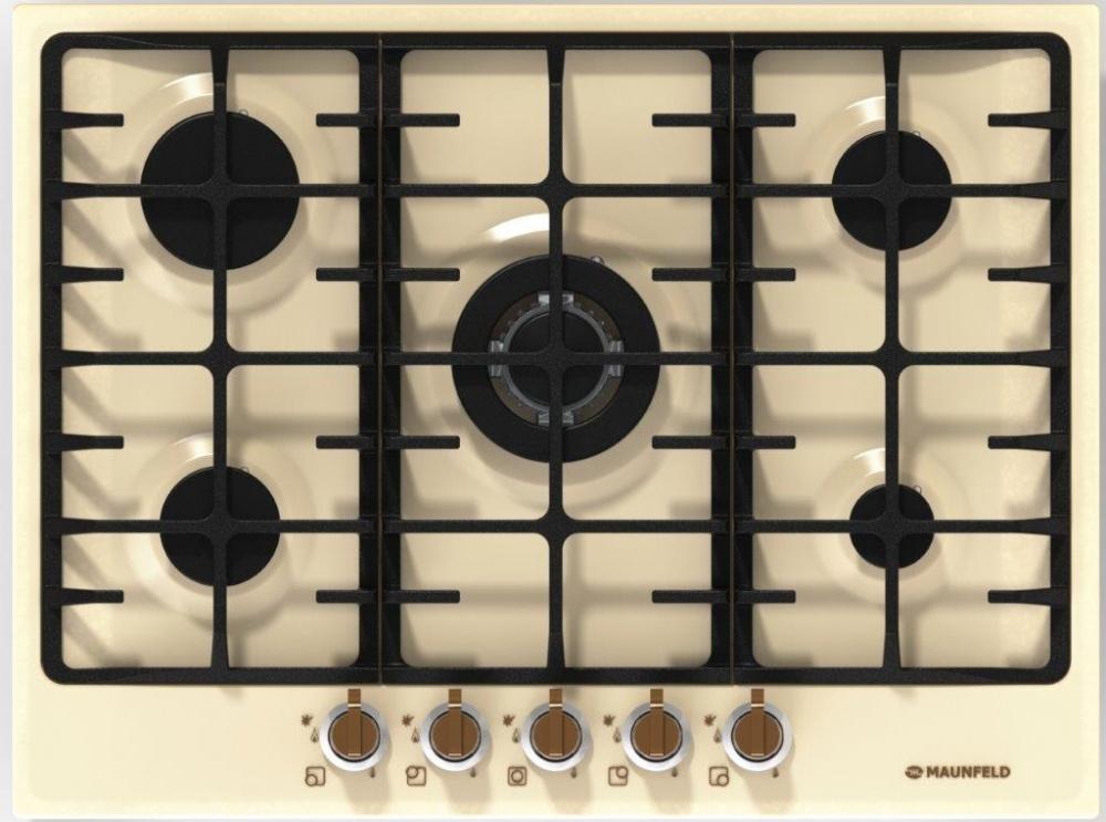 Варочная панель Maunfeld MGHE. 75. 78RIB, газовая, цвет бежевый Особенности: Чугунные решетки, газ-контроль, электроподжиг...