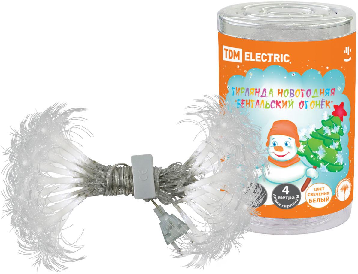Гирлянда новогодняя TDM Electric Бенгальский огонек, белый свет, 4 м. SQ0361-0025 гирлянда тдм sq0361 0026 сосульки падающий белый свет 30см 8шт в комплекте 3 8м