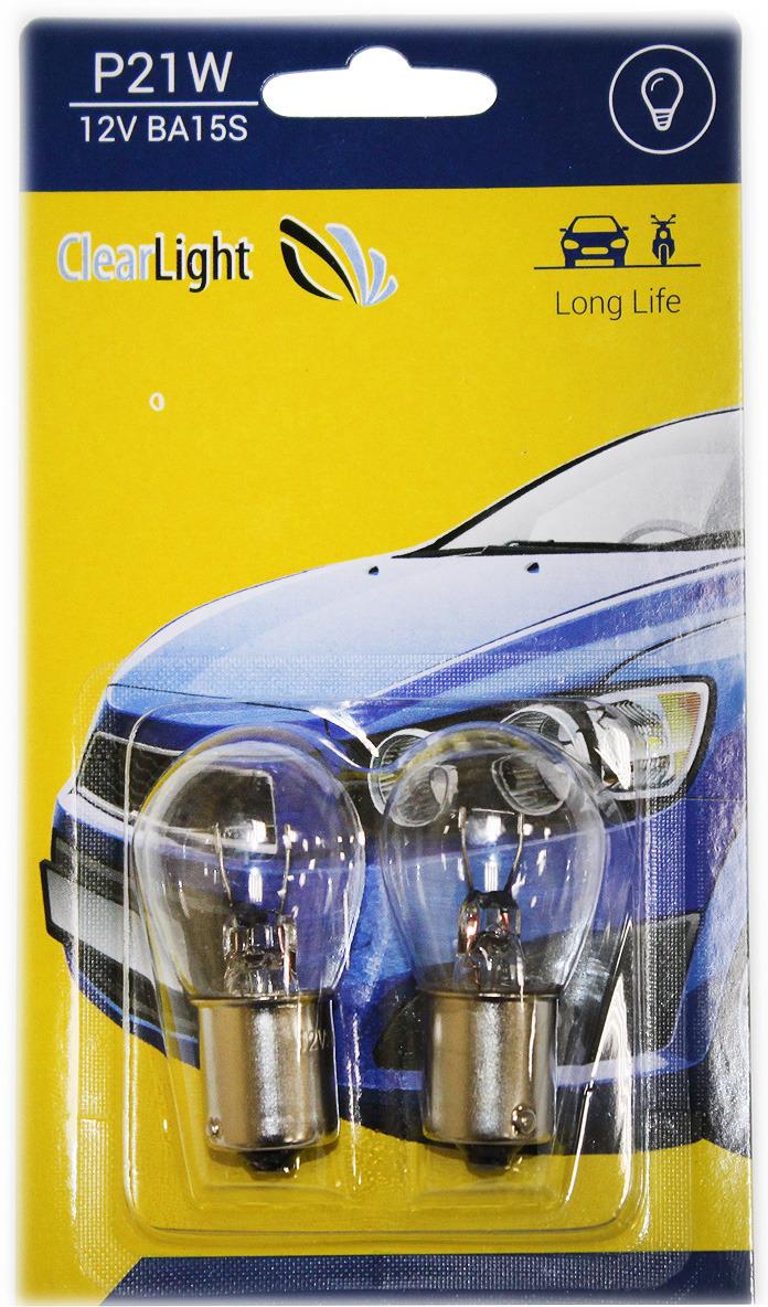 Лампа автомобильная галогенная Clearlight, цоколь P21W, 12В, 2 шт лампа p21w clearlight 12v ba15s 2 шт