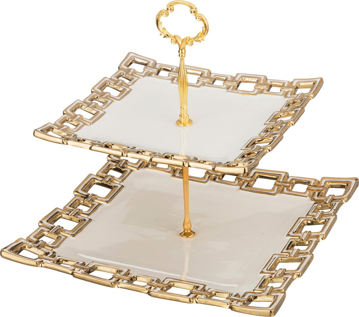 Фруктовница Lefard, двухъярусная, высота 25 см. SL15275 конфетница lefard голден 18х10 5х14см на ножке стекло