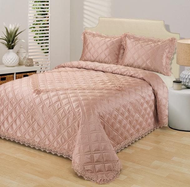 Комплект для спальни Sofi De Marko: покрывало, 240 х 260 см, 2 наволочки, цвет: розовый. Сим-Пр-2х