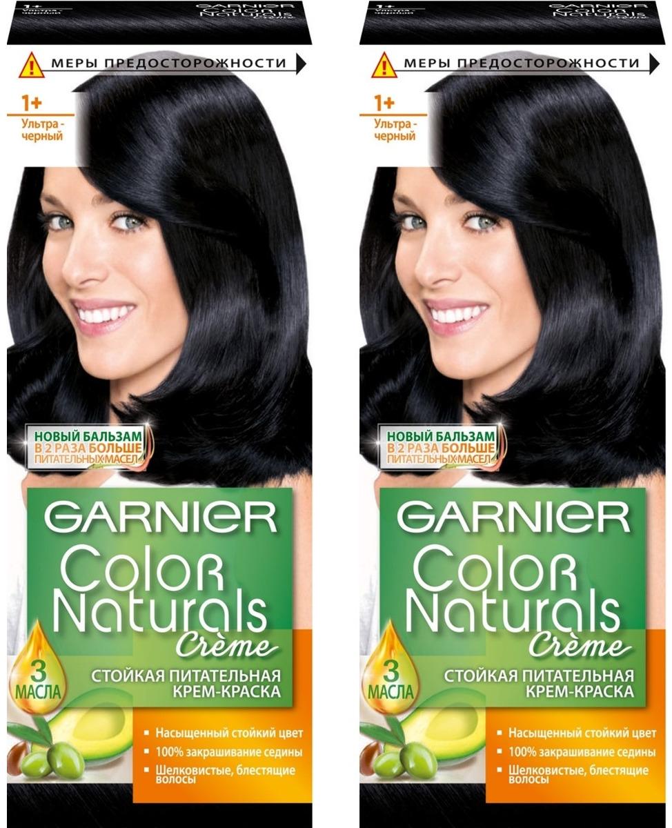 """Стойкая крем-краска для волос Garnier """"Color Naturals"""", оттенок 1+, Ультра черный, 2 шт"""