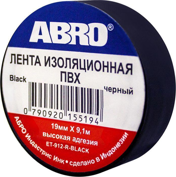 Изоляционная лента Abro, ET-912-R-BLACK, черный, длина 9,1 м цена и фото
