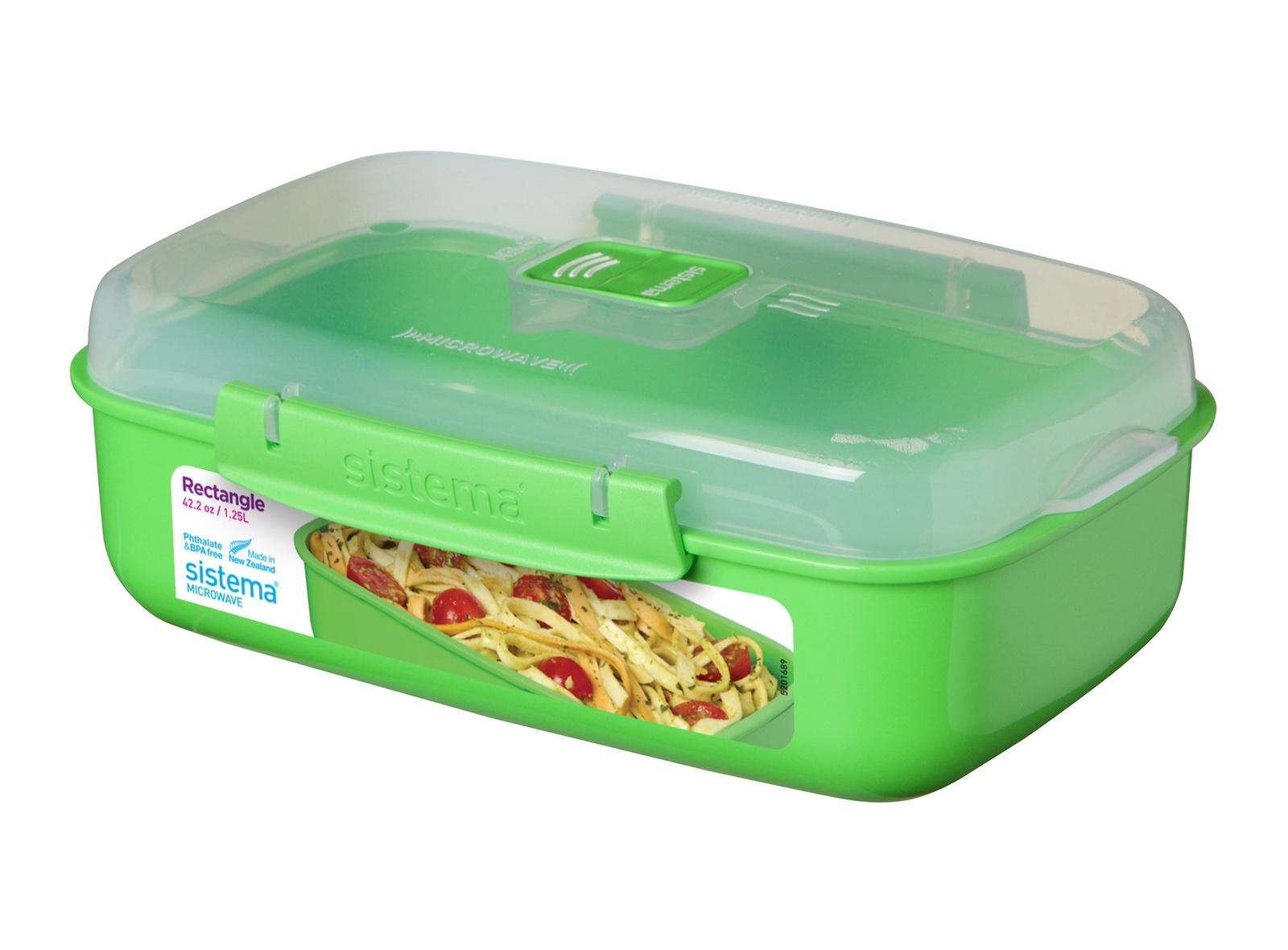 Контейнер пищевой Sistema MICROWAVE, прямоугольный, цвет: зеленый, 1,25 л цены онлайн