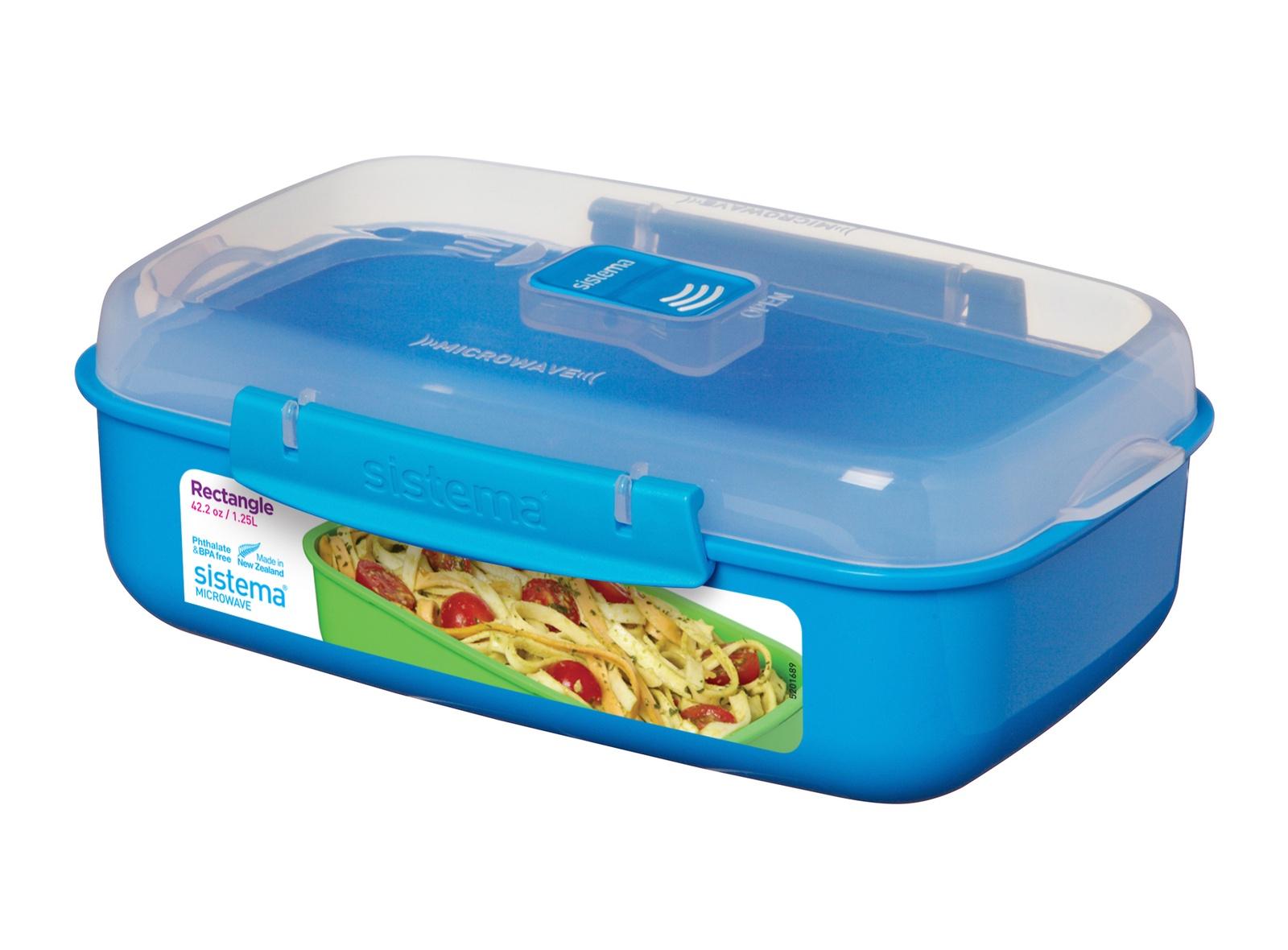 Контейнер пищевой Sistema MICROWAVE, прямоугольный, цвет: синий, 1,25 л цены онлайн