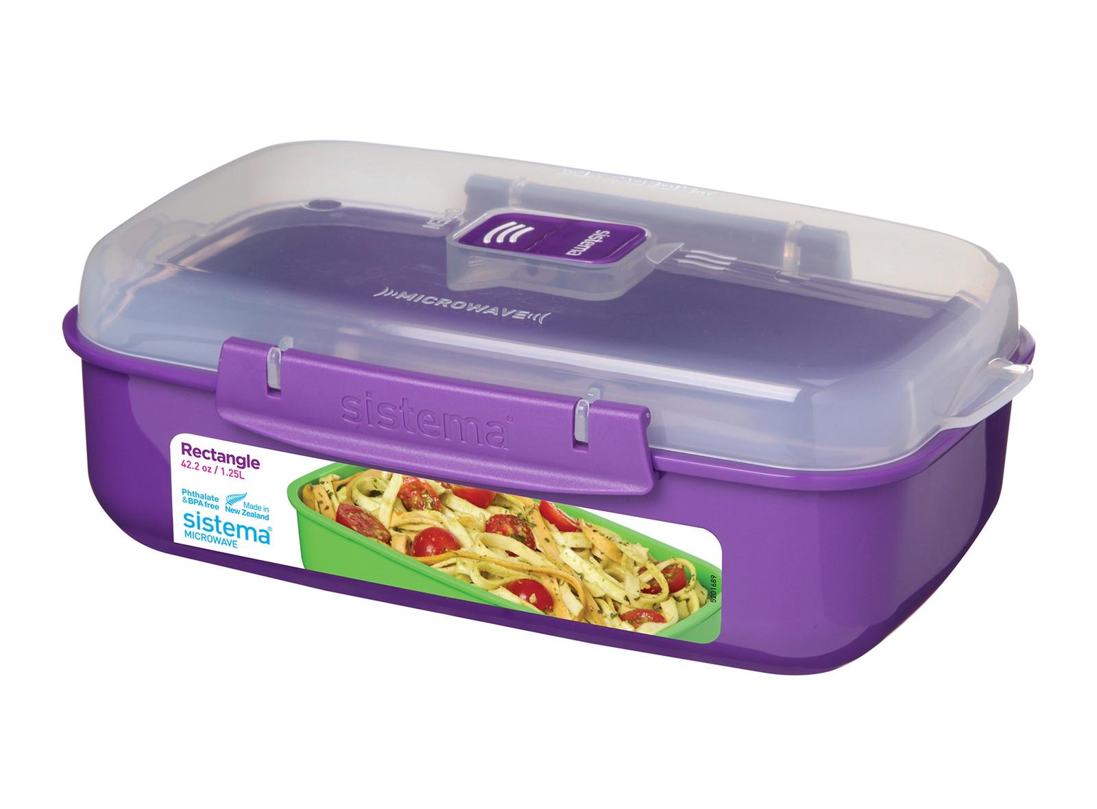 Контейнер пищевой Sistema MICROWAVE, прямоугольный, цвет: фиолетовый, 1,25 л цены онлайн