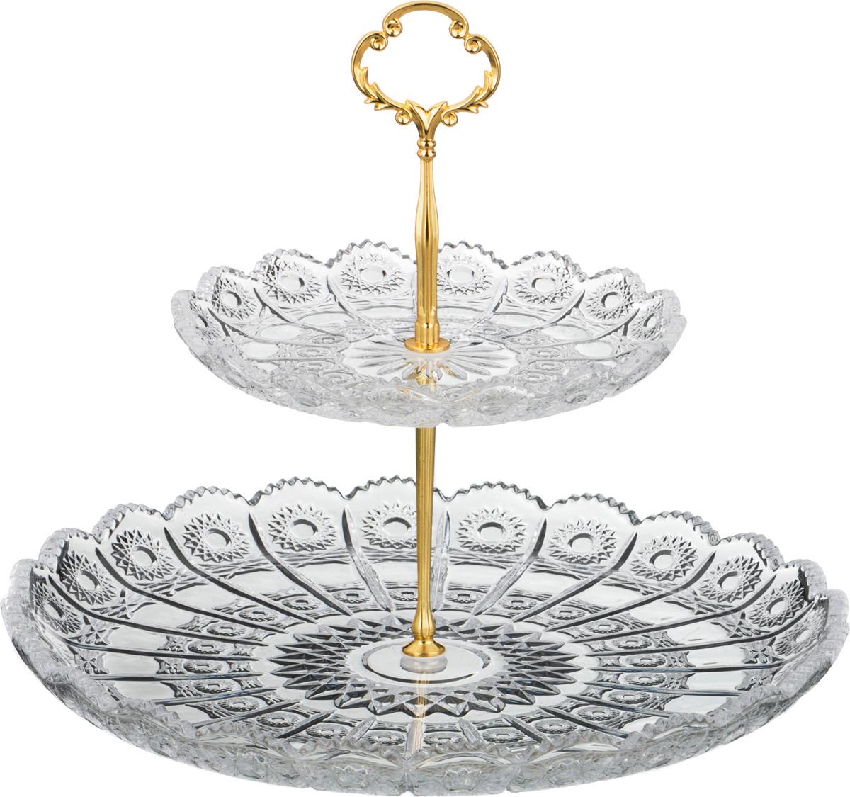 """Фруктовница Lefard """"Muza Crystal"""", двухъярусная, диаметр 18/30 см. P7017PK&P1217PK"""