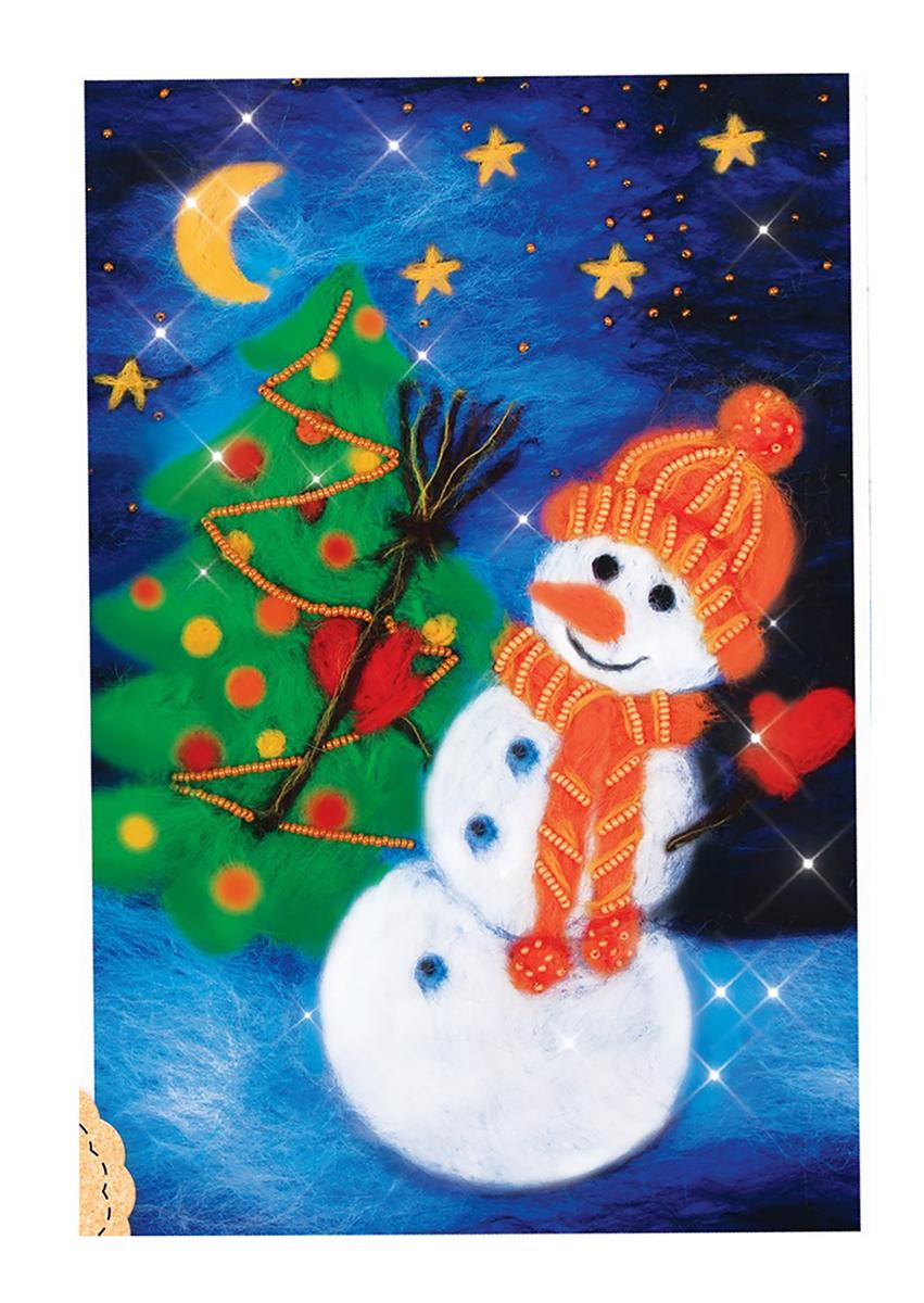 Набор для валяния Школа талантов Снеговик, 1 х 33 см набор для валяния школа талантов новогодний шар снеговик 9 х 9 см