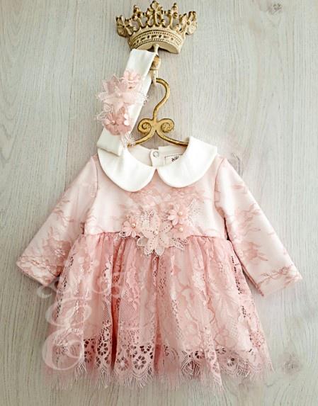 Платье Её малышество, цвет: розовый. 592-871-ПО. Размер 80590-004-01-86-92крОчень нежное кружевное платье с ободком. Модель с длинным рукавом выполнена из 100% интерлока, сверху которого нашито нежное кружево. Застегивается платье на кнопки по спинке.