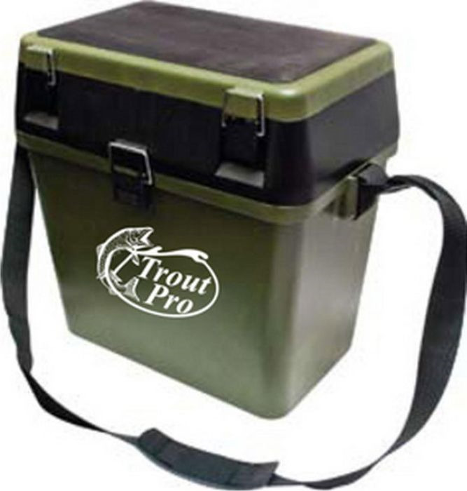 Ящик рыболовный Trout Pro, зимний, цвет: зеленый, 39 х 24 х 38 см ящик рюкзак рыболовный формула рыбалки зимний 3 яруса