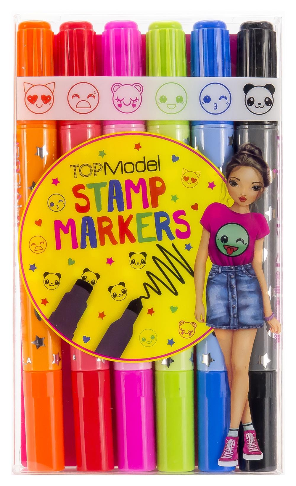 Набор фломастеров Depesche, со штампами, 6 цветов. 10009648 набор фломастеров школьных selfies 6 цветов картонная коробка