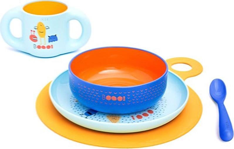 Набор посуды для кормления Suavinex Booo, от 6 месяцев, 3158372, голубой, 5 предметов suavinex поильник booo от 4 месяцев с ручками цвет розовый