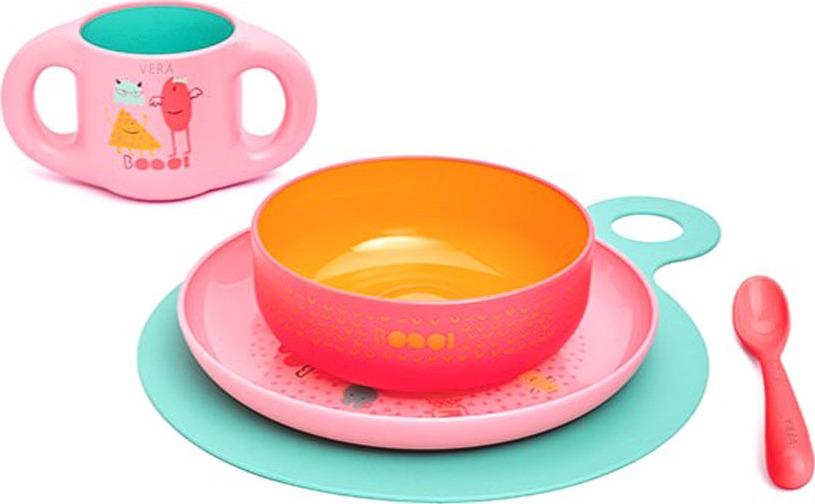Набор посуды для кормления Suavinex Booo, 3158372, розовый, от 6 месецев, 5 предметов suavinex поильник booo от 4 месяцев с ручками цвет розовый