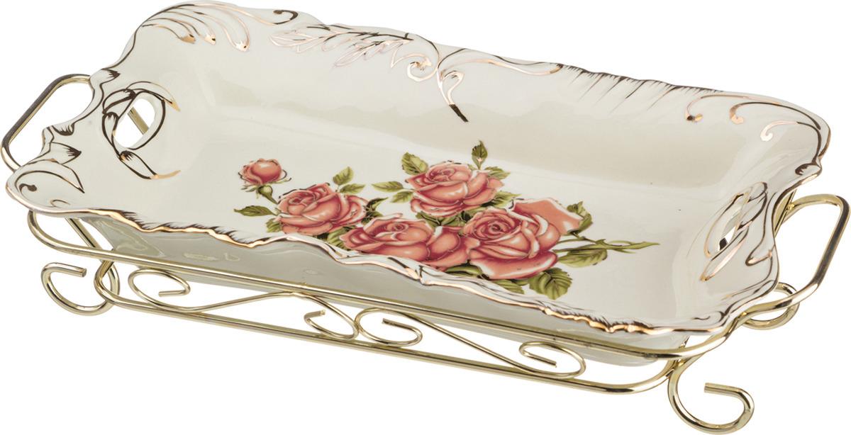 Блюдо Lefard Корейская роза, на подставке, 28 х 16 х 7 см. SC-3414 блюдо lefard корейская роза 33х15см керамика