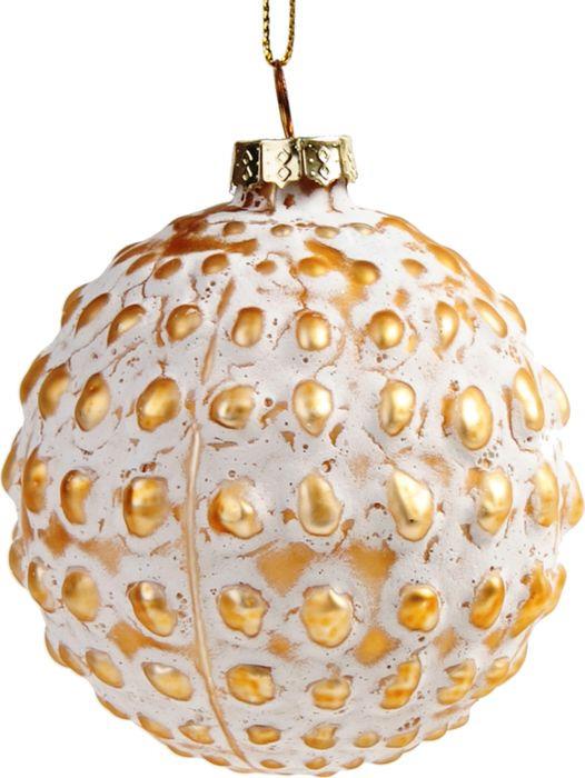 Новогоднее подвесное украшение Magic Time Шар с золотыми кружками, 8 см новогоднее подвесное украшение magic time шар красные цветы диаметр 8 см