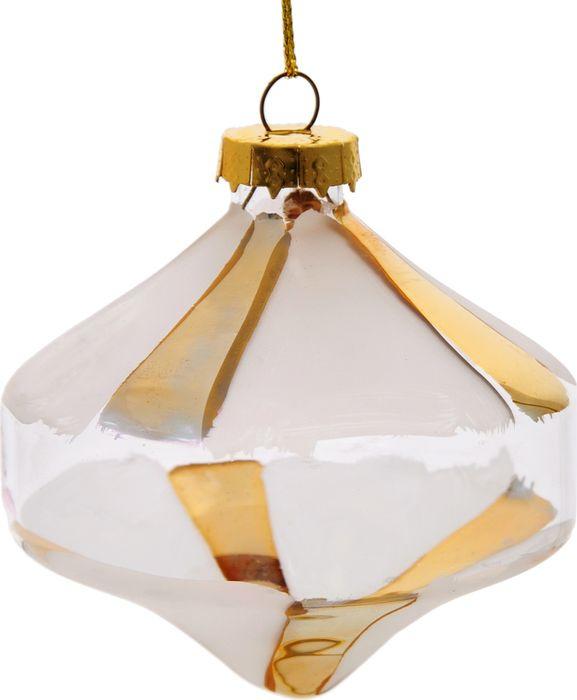 """Новогоднее подвесное украшение Magic Time """"Игрушка с золотыми полосками"""", 8,5 x 8 x 8 см"""