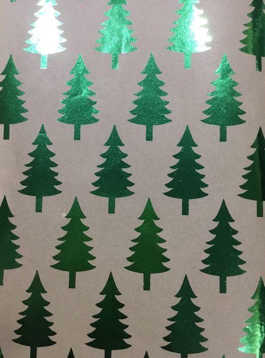 """Крафт бумага Magic Time """"Елочки"""", цвет: зеленый, 70 х 100 см. 79485"""