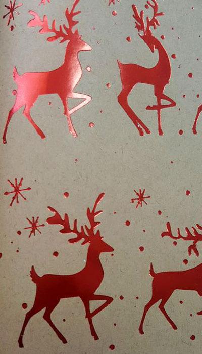"""Крафт бумага Magic Time """"Олени"""", цвет: красный, 70 х 100 см. 79488"""