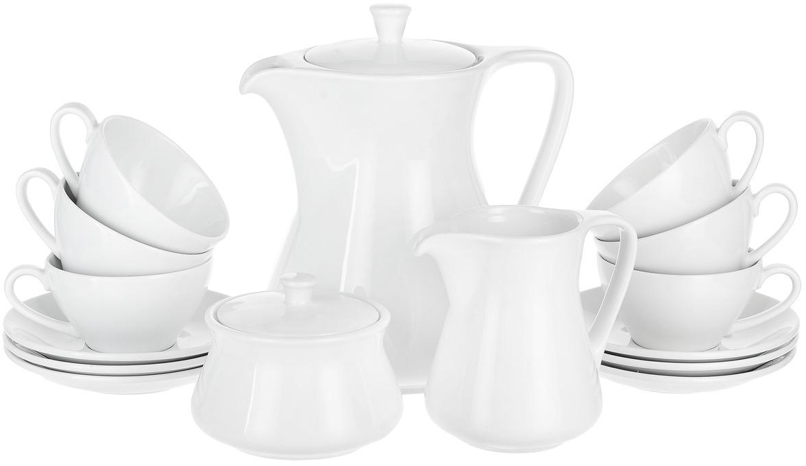 Сервиз кофейный Royal Porcelain Белый жемчуг, 17 предметовРП-0245ROYAL новый уникальный продукт на рынке фарфора производится из материала, в состав которого входит алюминиум (глинозем) в виде порошка, что придаёт фарфору уникальные свойства: белоснежный цвет, как на поверхности, так и на изломе, более тонкие и изящные формы, так как добавление металла делает фарфоровую массу более пластичной, устойчивость к сколам и царапинам. Возможный перепад температур при эксплуатации до 200 градусов! Фарфор покрывается глазурью, что характеризует эту посуду как продукт высшего класса. Идеально подходит для использования в микроволновой печи и посудомоечной машине